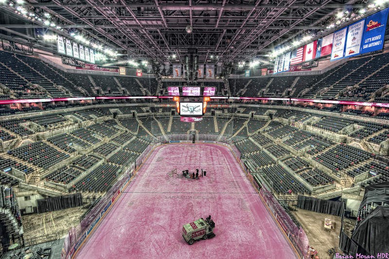 """A wide angle shot of the interior of the AT&T Center and the """"Pink in the Rink"""" promotion for breast cancer awareness.  This photo was taken shortly after the San Antonio Rampage defeated the Chicago Wolves 4-1 on 28 January 2011.<br /> <br /> For more on this photo, please visit my blog post:<br /> <br /> <br />  <a href=""""http://brianmoranhdr.blogspot.com/2011/01/pink-in-rink-san-antonio-rampage.html"""">http://brianmoranhdr.blogspot.com/2011/01/pink-in-rink-san-antonio-rampage.html</a>"""