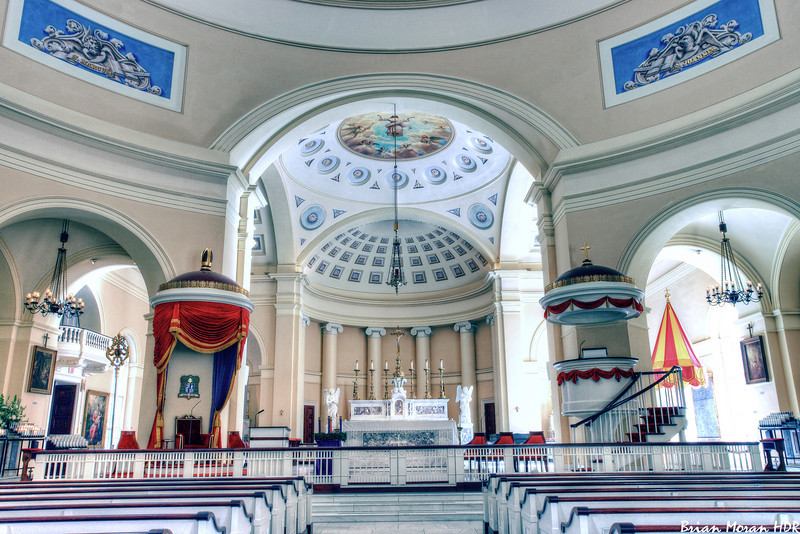 "Interior view of the Basilica of the National Shrine of the Assumption of the Blessed Virgin Mary (aka Baltimore Basilica), located in Baltimore, Maryland.<br /> <br /> For more on this photo, please visit my blog post:<br /> <br />  <a href=""http://brianmoranhdr.blogspot.com/2010/12/baltimore-basilica.html"">http://brianmoranhdr.blogspot.com/2010/12/baltimore-basilica.html</a>"