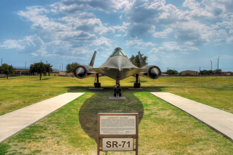 The coolest plane ever, the SR-71.  This is also from the parade grounds on Lackland AFB, San Antonio, Texas