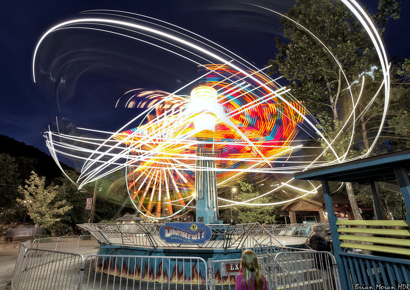 "A night, long exposure shot of the ""Downdraft"" ride at Knoebels Amusement Park in Elysburg, Pennsylvania.<br /> <br /> If you would like to read more about this photo, please visit my blog post:<br /> <br /> <br />  <a href=""http://brianmoranhdr.blogspot.com/2013/09/knoebels-grove-at-night.html"">http://brianmoranhdr.blogspot.com/2013/09/knoebels-grove-at-night.html</a>"