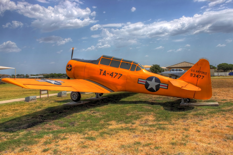 A yellow plane from the parade grounds on Lackland AFB, San Antonio Texas