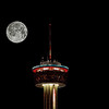 The Tower of Americas (and full Moon, added via Photoshop) located in San Antonio, Texas