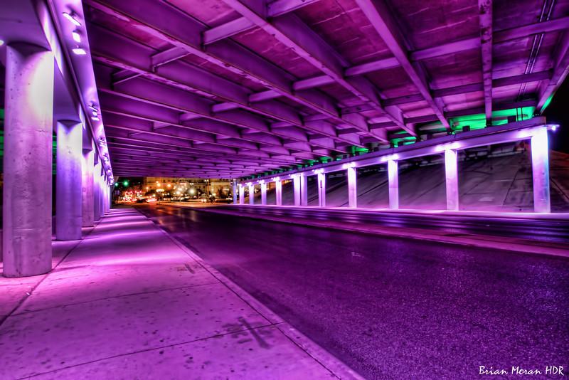"Purple ""Light Channels"" on Commerce Street near downtown San Antonio. Part II of V."