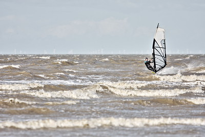 Windsurfer enjoying the strong winds at Minnis Bay, Kent