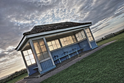 Seafront shelter in evening sun