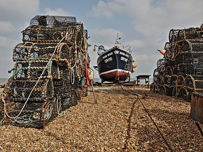 Fishing boat 'Moss Rose' with pots - Deal Beach