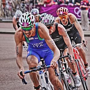 Olympic Triathlon 2012 - Hyde Park, London  35 - Alessandro Fabian (ITA) 55 - Kris Gemmell (NZL) 46 - Jan Frodeno (GER)
