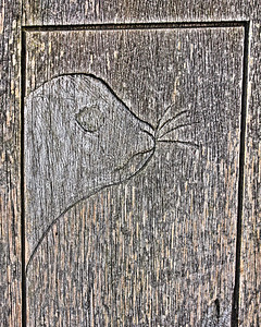 Carved seal on timber post