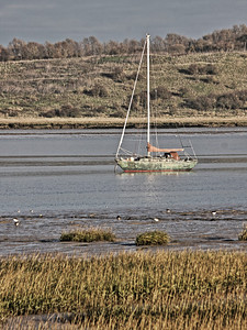 Sailing boat moored in The Swale