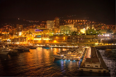 Monaco harbor at night.