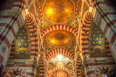 The interior of the Neo-Byzantine Cathedral Notre Dame in Marseille, France.