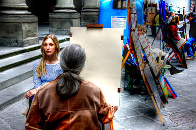 Street artist in Florence, Italy.