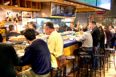A small cafe in the Barcelona Market, Mercat di Boqueria, off Las Rambles.