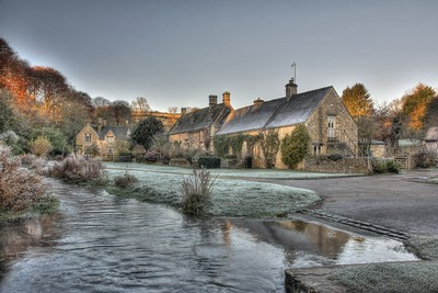 "River through Upper Slaughter at dawn.  Upper Slaughter in the Cotswolds is one of only 14 ""doubly thankful"" villages that lost no servicemen in either World War."