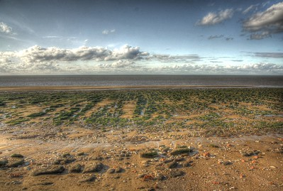 HDR of the beach at low tide, a passing boat would have added some interest... Hunstanton, Norfolk