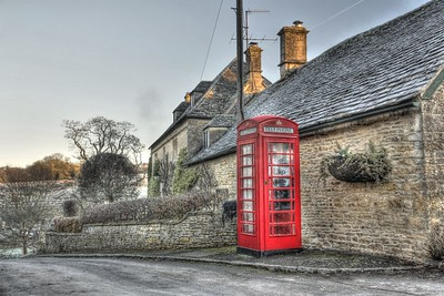 "Phone box in Upper Slaughter in the Cotswolds.  Upper Slaughter is one of only 14 ""doubly thankful"" villages in Britain that lost no servicemen in either of the World Wars."