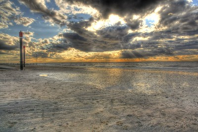 Sunset over the beach at Hunstanton, Norfolk