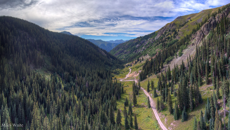 Using the drone to look ahead, up the Mineral Creek trail.