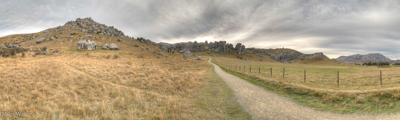 Wide panorama shot of the Castle Hill rock formation.
