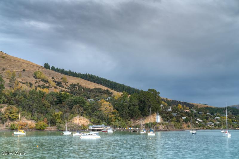 Boats in the Akaroa Harbor.