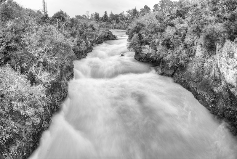 Long exposure at Huka Falls. Looking Up river.