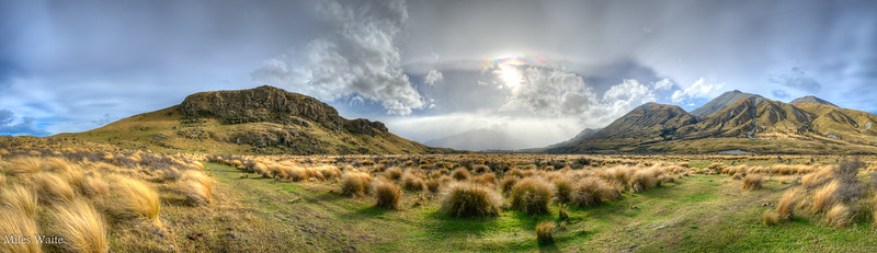 HDR Panorama near the base of Mt. Sunday. HDR really helps when you are shooting into the sun like this.