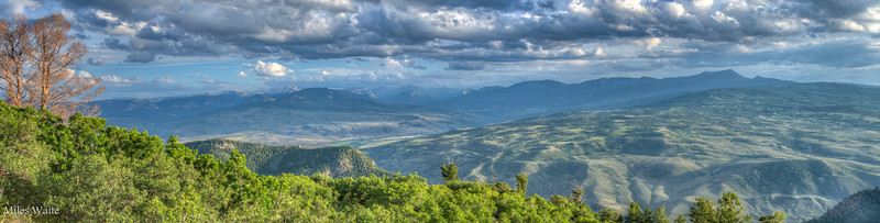 Panorama on the West end of the Black Canyon of the Gunnison.   The Needle Mountains in the distance.