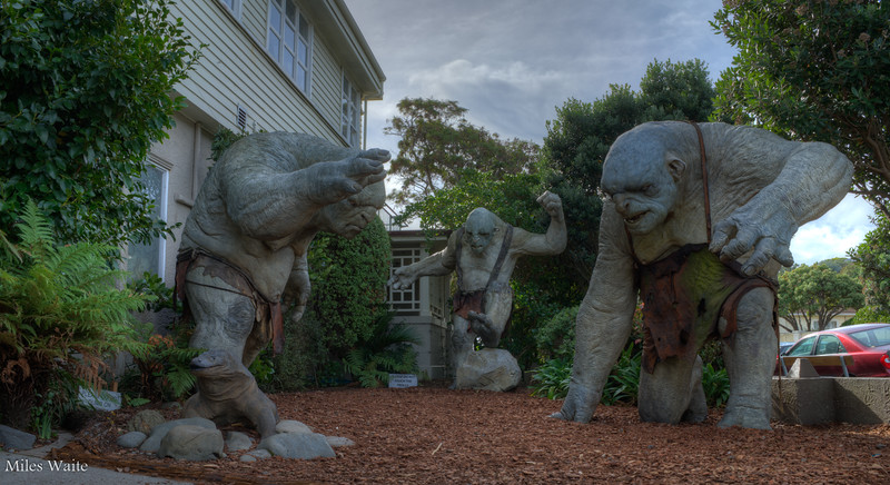 The three (Life sized) Trolls guarding the Weta Cave.