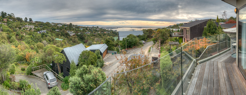 HDR Panorama shot off the back porch of the house that I'm staying at in the Mount Pleasant neighborhood. Looking north, the Avon Heathcote Estuary is in the distance.
