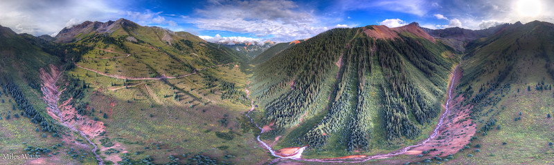 Drone 360 Panorama on the way up to Ophir pass.