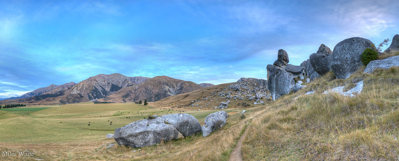 Smaller panorama of the Castle Hill rocks valley and mountains.