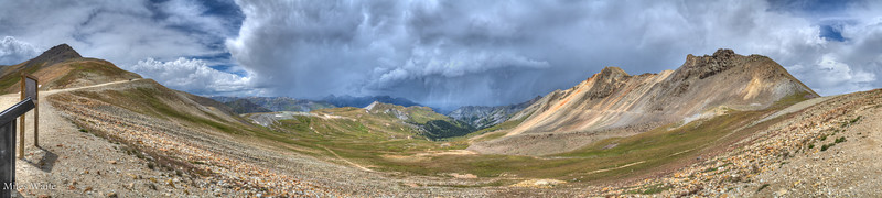 Another good panorama shot at the top of Engineer Pass, this time with the clouds and SNOW coming in.