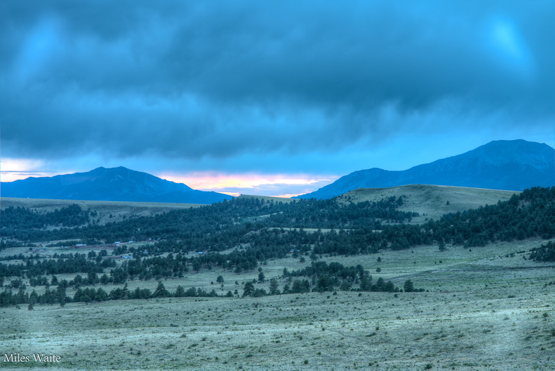 Sunset over the Sangre De Cristo Mountains. Taken from the Mission Wolf Sanctuary.