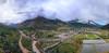 Aerial Panorama of Silverton. Anvil Mountain Shrouded in Clouds.