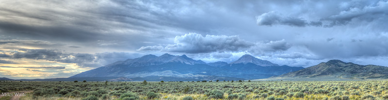 Panorama of the Sangre De Cristo Mountains from the south.