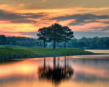 Morning on the 18th - Sunrise on the 18th hole of the Dominion club golf course.