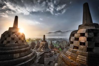 Sunrise over Borobudur Temple, central Java, Indonesia.