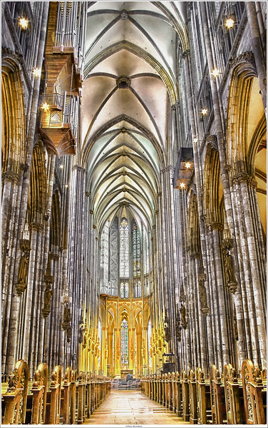 Inside the Cologne Cathedral: the nave looking east.