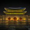 The Gwanghamun Gate by night, Seoul, Korea