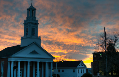 Andover Baptist Church at sunset, HDR II