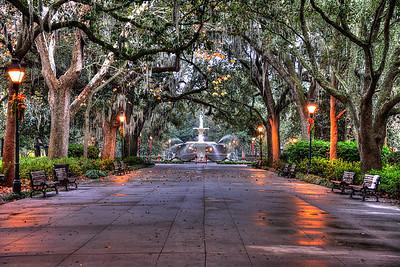 Forsyth Square Savannah Early Morning