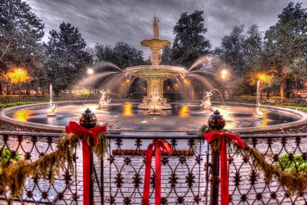 Forsyth Square at Christmas, Savannah