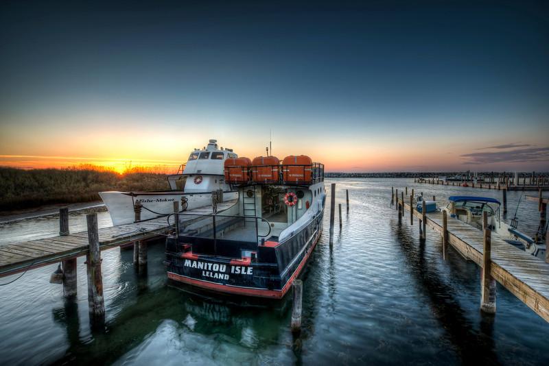 sunset over fishtown   leland, michigan