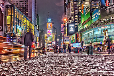 Times Square NY, looking north. Taken in a 3 exposure HDR series (on my briefcase... no tripod)