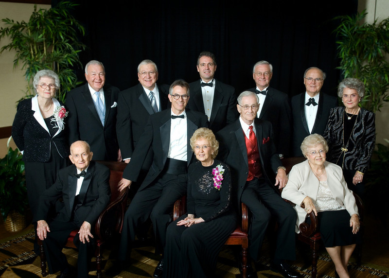 First group inducted into new HEB ISD Hall of Fame, featuring six categories of nominees. There were 13 inductees for 2008. Standing, from left: Lennijo Blair Daniel, E. Don Brown, David Moon, Todd Smith, John T. Montford, Bill Souder, Dodie Souder. Sitting, from left: Tom Vastine, Sr., Neil M. Denari, Pat May, BJ Murray, Frances LaFerney. Not pictured is James L. Haley, author and graduate of LD Bell High School, who could not attend the gala.