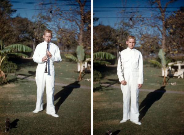 I have a good friend who attended 'Hurst' schools in the late 1950s and early 1960s. He was a member of the Bell band. He was telling me how the band uniforms were 'white jumpsuits'....like ice cream men! Here is a picture of Johnny Hackney in his L.D. Bell band uniform from the early 1960s!<br /> -submitted by Lisa Wise