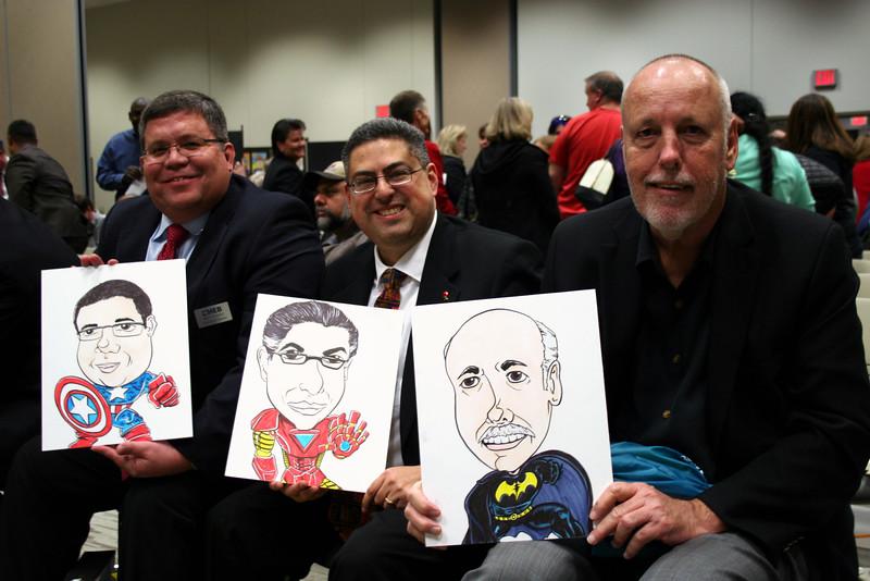 Members of the school board drawn as various superheroes.