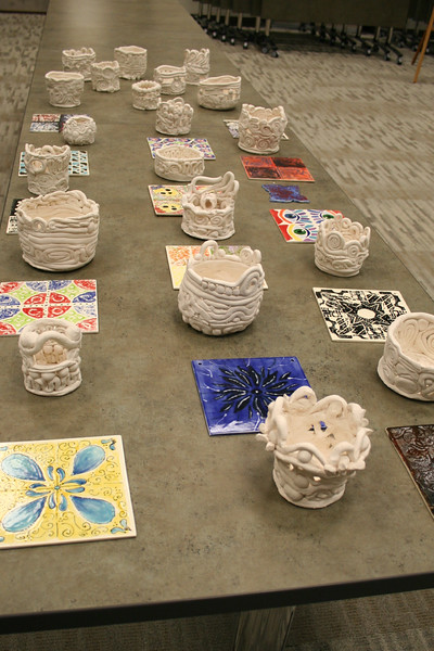 Ceramic creations from various schools.