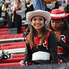 Trinity drill team member smiling at camera.