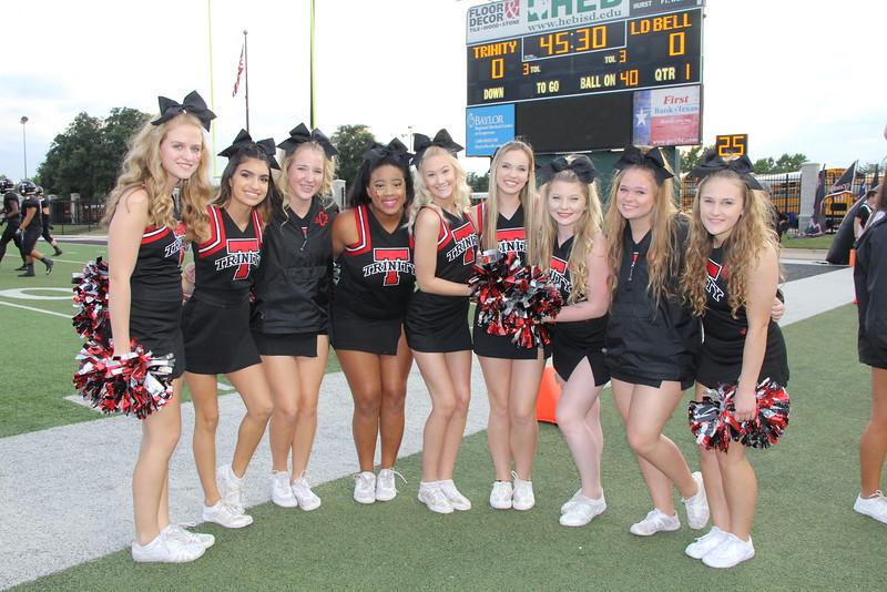 Trinity cheerleaders on sidelines.